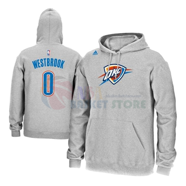 Hoodies NBA Oklahoma City Thunder NO.0 Russell Westbrook Gris