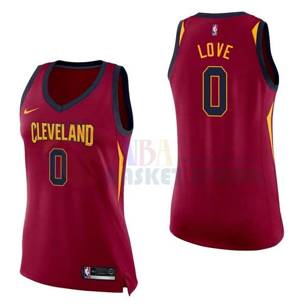 Maillot NBA Femme Cleveland Cavaliers NO.0 Kevin Love Rouge Icon 2017-18