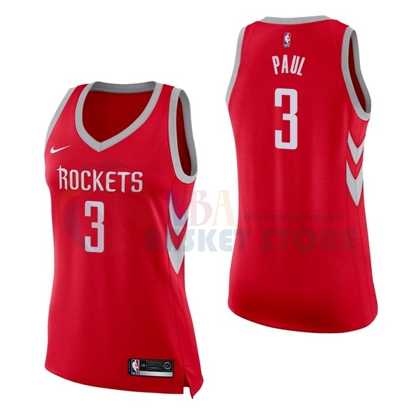 Maillot NBA Femme Houston Rockets NO.3 Chris Paul Rouge Icon 2017-18