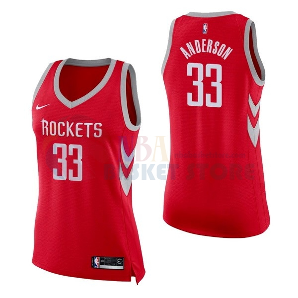 Maillot NBA Femme Houston Rockets NO.33 Ryan Anderson Rouge Icon 2017-18