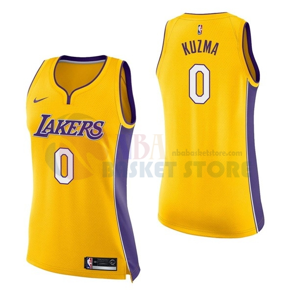 Maillot NBA Femme Los Angeles Lakers NO.0 Kyle Kuzma Jaune Icon 2017-18