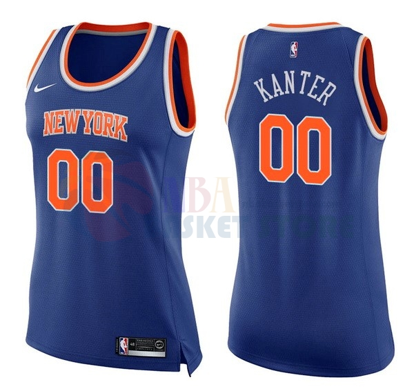 Maillot NBA Femme New York Knicks NO.0 Enes Kanter Bleu Icon 2017-18