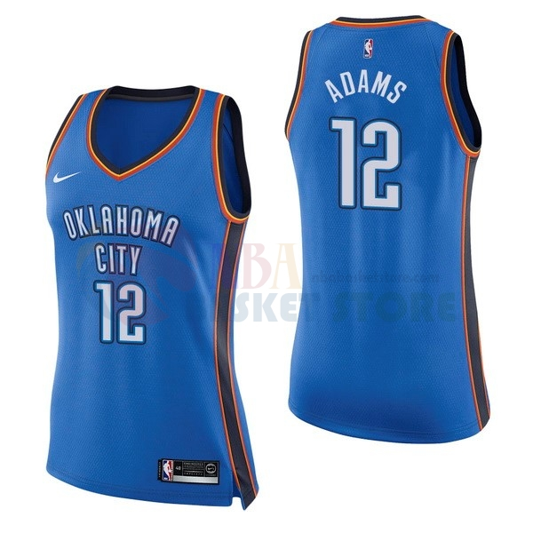 Maillot NBA Femme Oklahoma City Thunder NO.12 Steven Adams Bleu Icon 2017-18