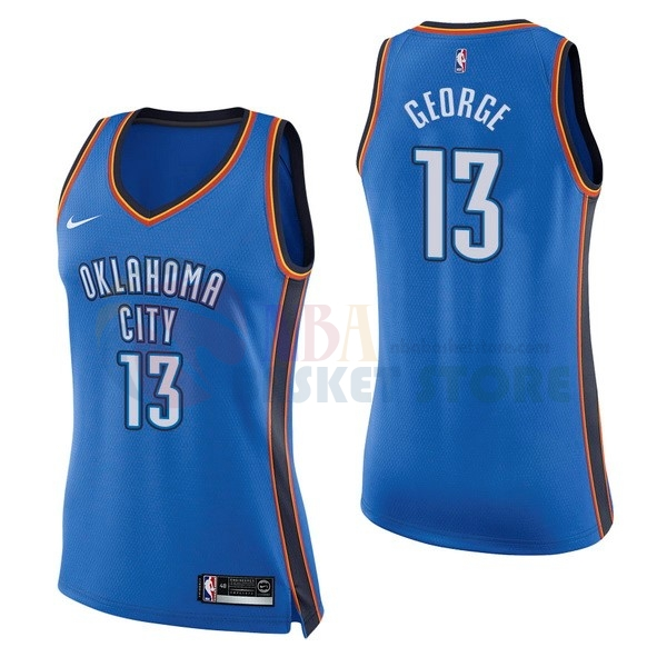 Maillot NBA Femme Oklahoma City Thunder NO.13 Paul George Bleu Icon 2017-18