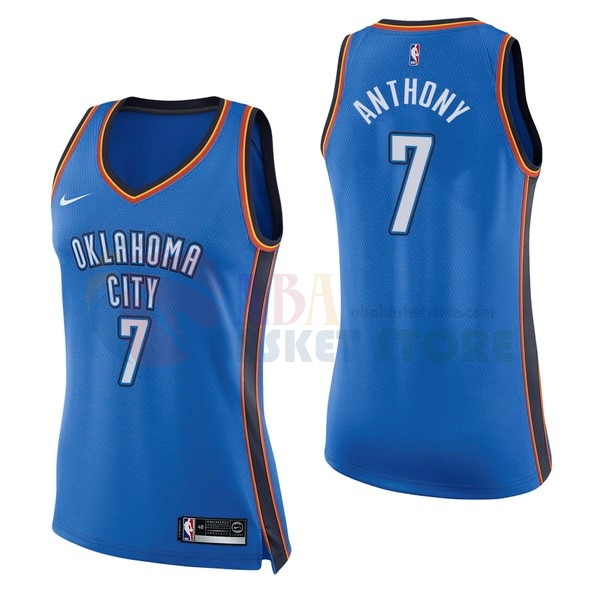 Maillot NBA Femme Oklahoma City Thunder NO.7 Carmelo Anthony Bleu Icon 2017-18