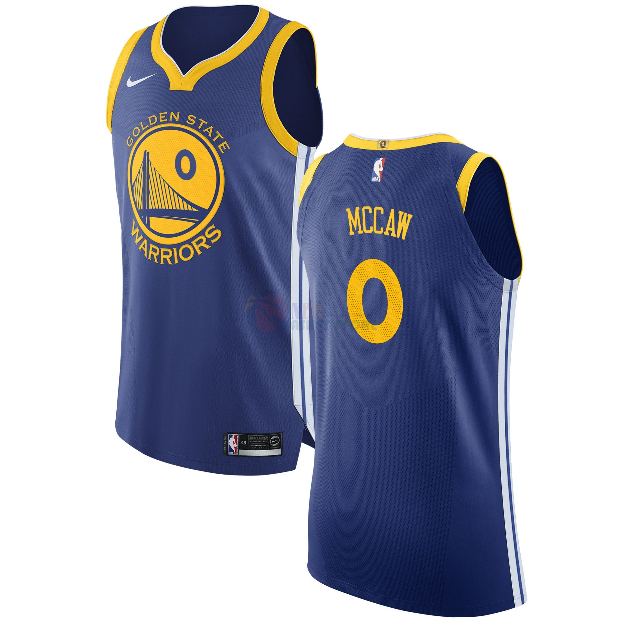 Maillot NBA Golden State Warriors NO.0 Patrick Mccaw Bleu Icon 2017-18