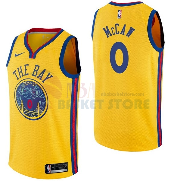 Maillot NBA Golden State Warriors NO.0 Patrick Mccaw Nike Jaune Ville 2017-18