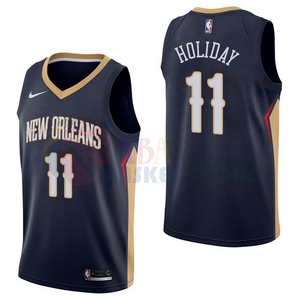 Maillot NBA New Orleans Pelicans NO.11 Jrue Holiday Marine Icon 2017-18
