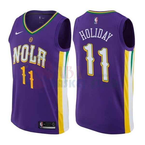 Maillot NBA New Orleans Pelicans NO.11 Jrue Holiday Nike Pourpre Ville 2017-18