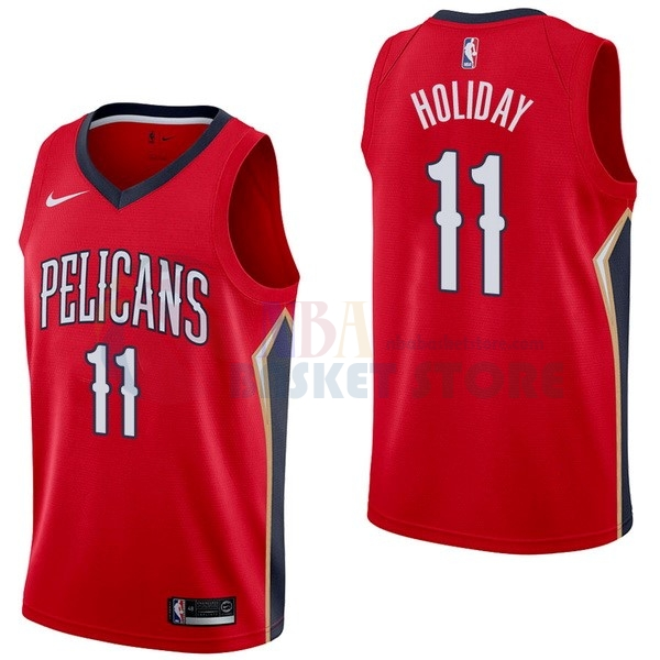 Maillot NBA New Orleans Pelicans NO.11 Jrue Holiday Rouge Statement 2017-18