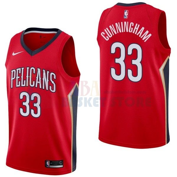 Maillot NBA New Orleans Pelicans NO.33 Dante Cunningham Rouge Statement 2017-18