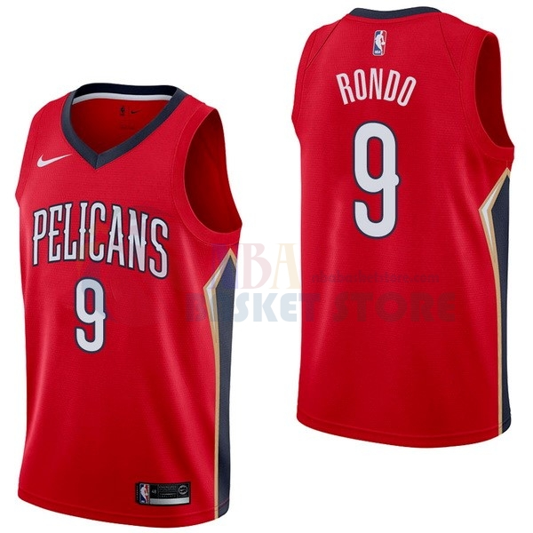 Maillot NBA New Orleans Pelicans NO.9 Rajon Rondo Rouge Statement 2017-18