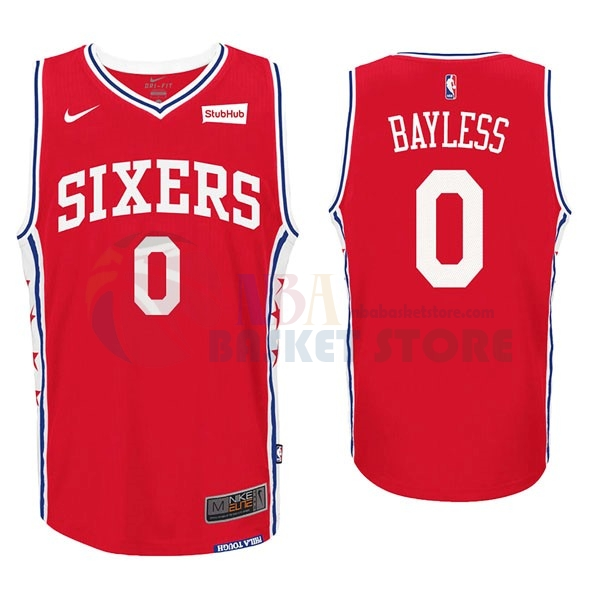 Maillot NBA Philadelphia Sixers NO.0 Jerryd Bayless Rouge 2017-18