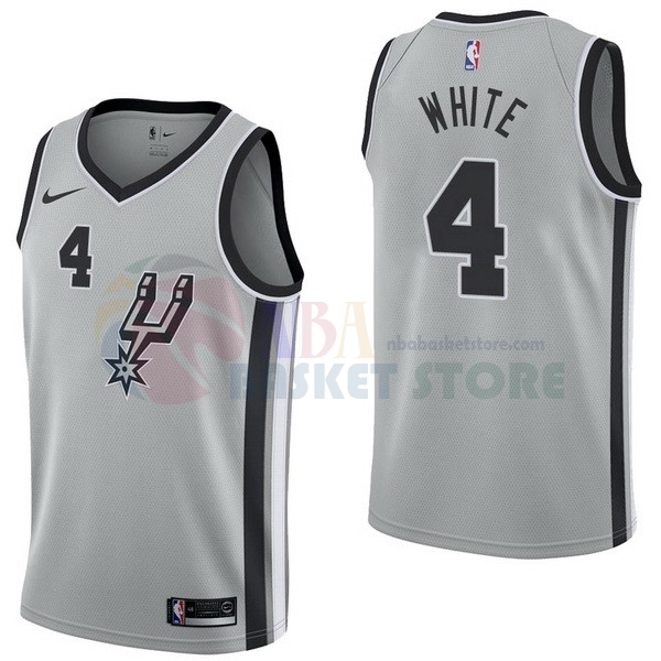 Maillot NBA San Antonio Spurs NO.4 Derrick White Gris Statement 2017-18