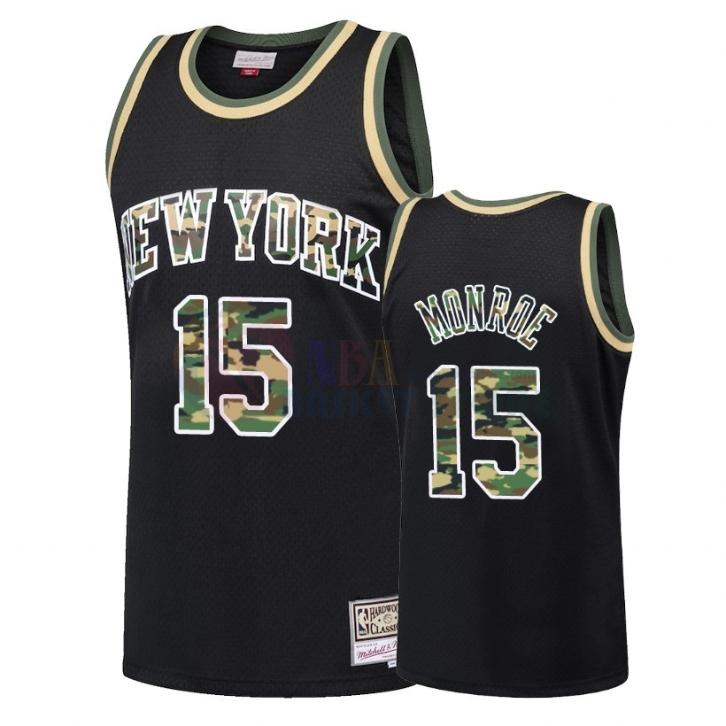 Maillot NBA Camo Feu Droit New York Knicks NO.15 Earl Monroe Noir 2018