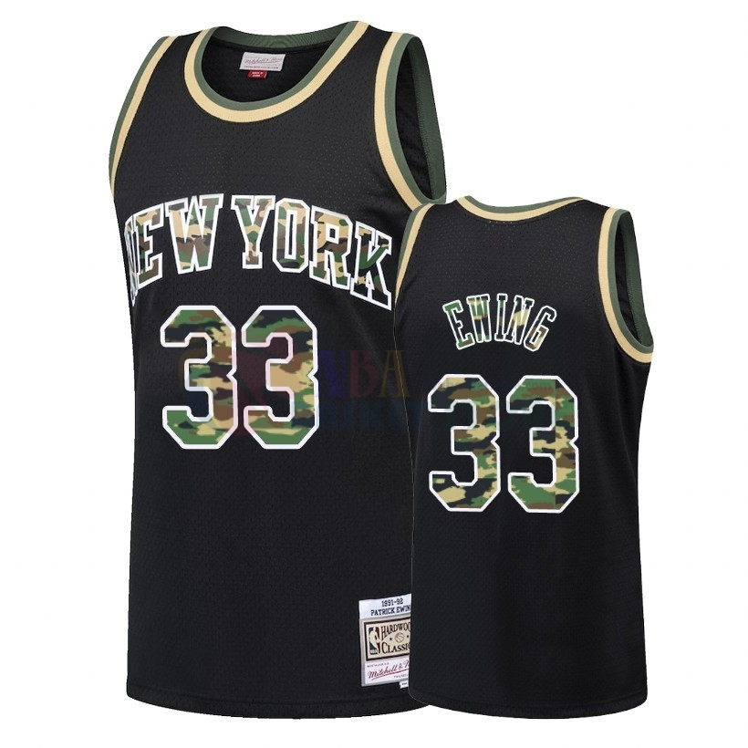 Maillot NBA Camo Feu Droit New York Knicks NO.33 Patrick Ewing Noir 2018