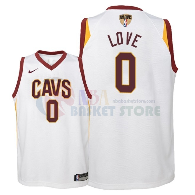 Maillot NBA Enfant Cleveland Cavaliers 2018 Finales Champions NO.0 Kevin Love Blanc Association Patch