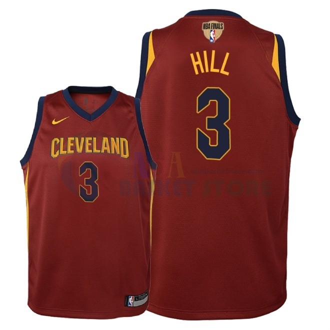Maillot NBA Enfant Cleveland Cavaliers 2018 Finales Champions NO.3 George Hill Rouge Icon Patch