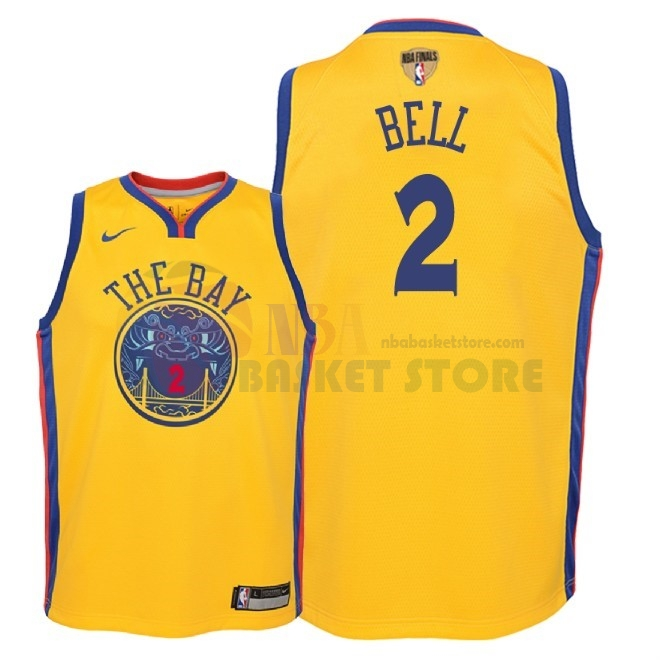 Maillot NBA Enfant Golden State Warriors 2018 Finales Champions NO.2 Jordan Bell Nike Jaune City Patch