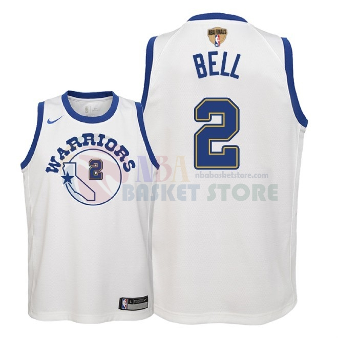 Maillot NBA Enfant Golden State Warriors 2018 Finales Champions NO.2 Jordan Bell Nike Retro Blanc Patch
