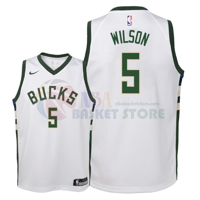 Maillot NBA Enfant Milwaukee Bucks NO.5 D.J. Wilson Blanc Association 2018