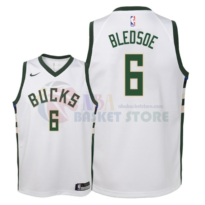 Maillot NBA Enfant Milwaukee Bucks NO.6 Eric Bledsoe Blanc Association 2018