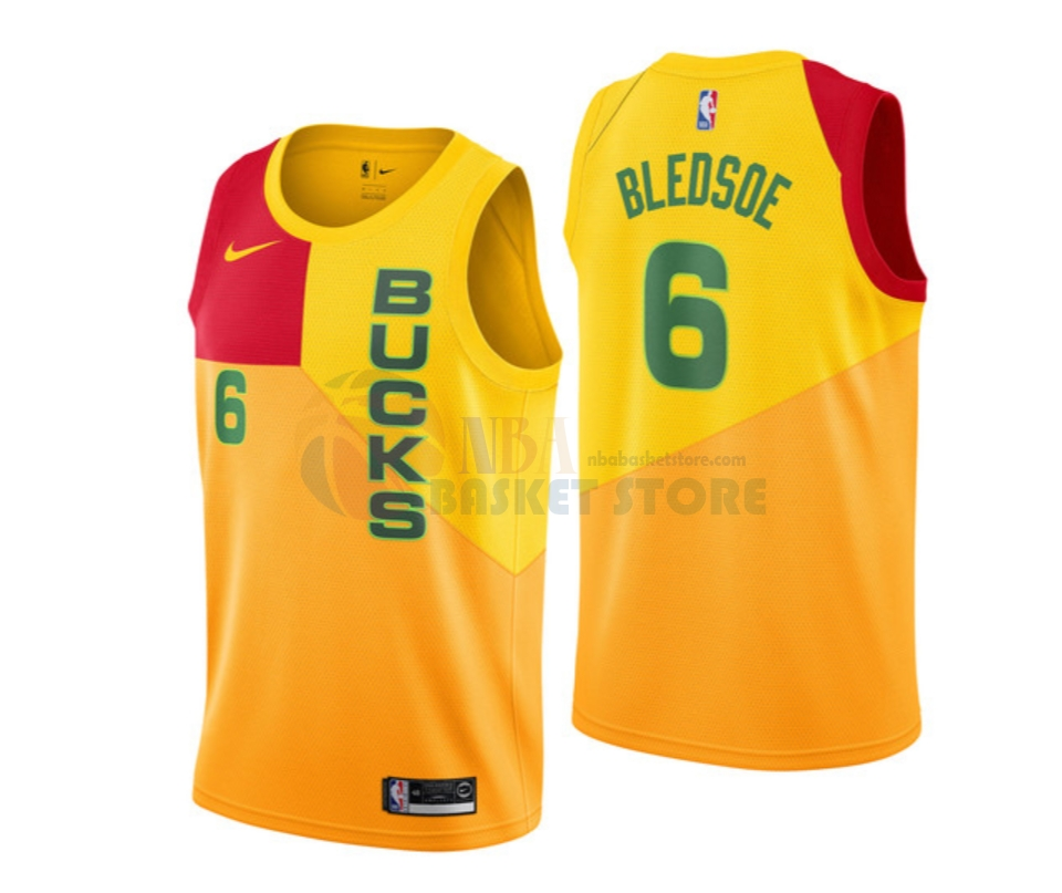 Maillot NBA Enfant Milwaukee Bucks NO.6 Eric Bledsoe Nike Jaune Ville 2018-19