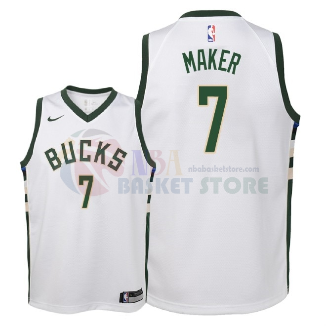 Maillot NBA Enfant Milwaukee Bucks NO.7 Thon Maker Blanc Association 2018
