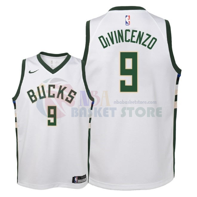 Maillot NBA Enfant Milwaukee Bucks NO.9 Donte Divincenzo Blanc Association 2018
