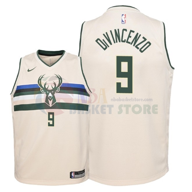 Maillot NBA Enfant Milwaukee Bucks NO.9 Donte Divincenzo Nike Crème Ville 2018