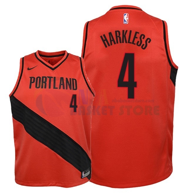 Maillot NBA Enfant Portland Trail Blazers NO.4 Maurice Harkless Rouge Statement 2018