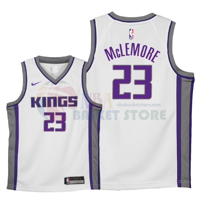 Maillot NBA Enfant Sacramento Kings NO.23 Ben Mclemore Blanc Association 2018