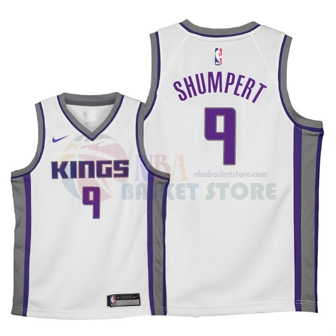 Maillot NBA Enfant Sacramento Kings NO.9 Iman Shumpert Blanc Association 2018