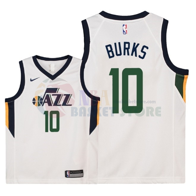 Maillot NBA Enfant Utah Jazz NO.10 Alec Burks Blanc Association 2018