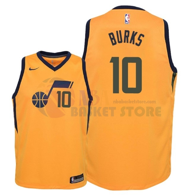 Maillot NBA Enfant Utah Jazz NO.10 Alec Burks Jaune Statement 2018