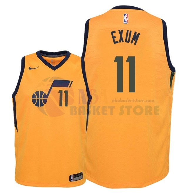 Maillot NBA Enfant Utah Jazz NO.11 Dante Exum Jaune Statement 2018