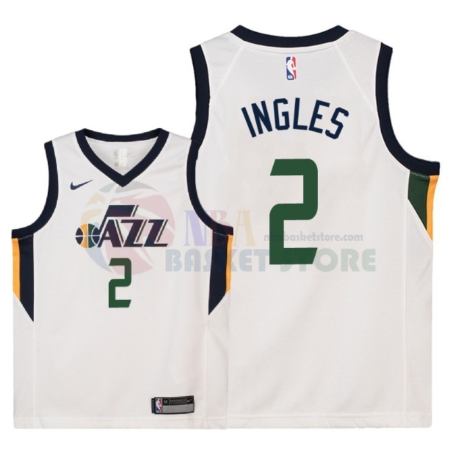 Maillot NBA Enfant Utah Jazz NO.2 Joe Ingles Blanc Association 2018