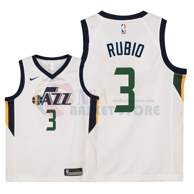 Maillot NBA Enfant Utah Jazz NO.3 Ricky Rubio Blanc Association 2018