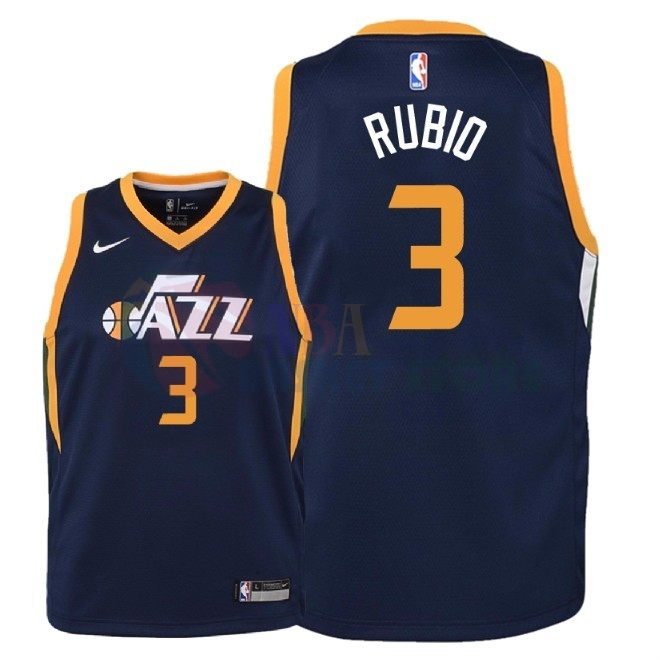 Maillot NBA Enfant Utah Jazz NO.3 Ricky Rubio Marine Icon 2018