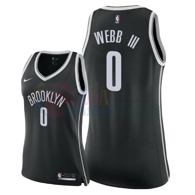 Maillot NBA Femme Brooklyn Nets NO.0 James Webb Iii Noir Icon 2018