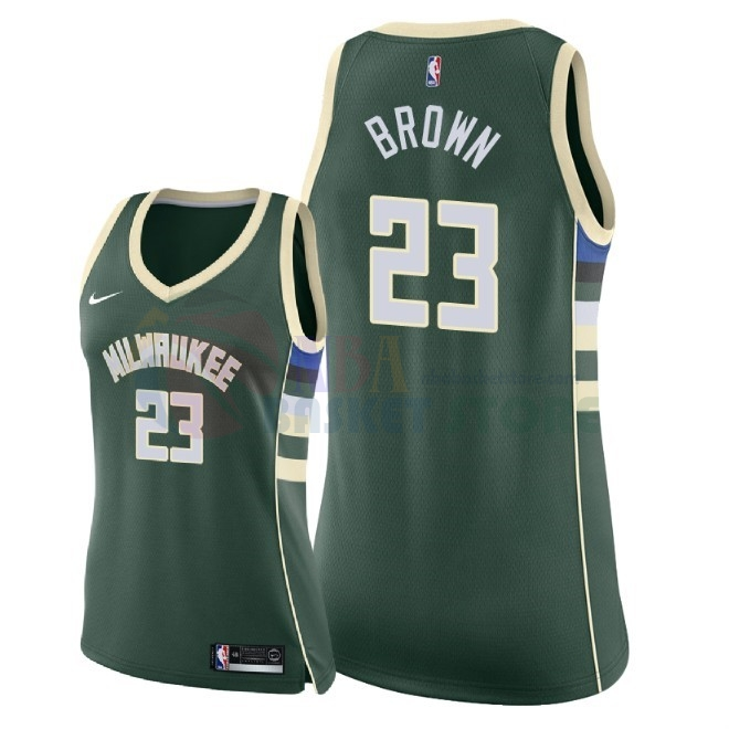 Maillot NBA Femme Milwaukee Bucks NO.23 Sterling Brown Vert Icon 2018
