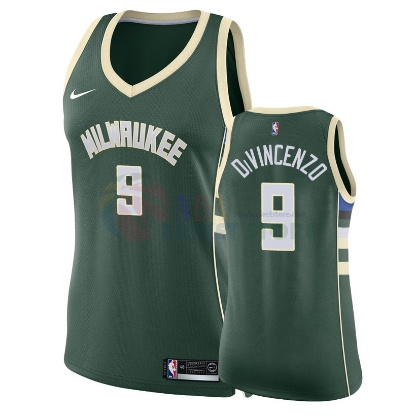Maillot NBA Femme Milwaukee Bucks NO.9 Donte Divincenzo Vert Icon 2018