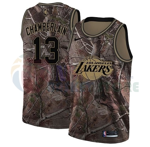 Maillot NBA Los Angeles Lakers NO.13 Wilt Chamberlain Camo NBA Swingman Collection Realtree 2018