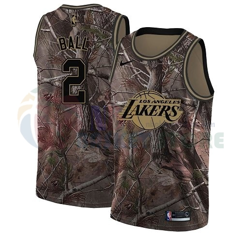 Maillot NBA Los Angeles Lakers NO.2 Lonzo Ball Camo NBA Swingman Collection Realtree 2018