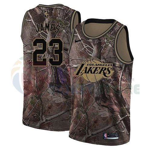 Maillot NBA Los Angeles Lakers NO.23 Lebron James Camo NBA Swingman Collection Realtree 2018