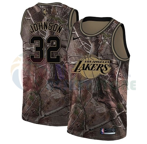 Maillot NBA Los Angeles Lakers NO.32 Magic Johnson Camo NBA Swingman Collection Realtree 2018