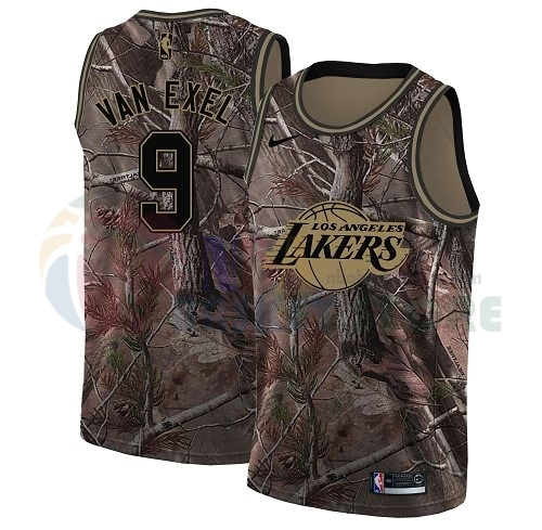 Maillot NBA Los Angeles Lakers NO.9 Nick Van Exel Camo NBA Swingman Collection Realtree 2018