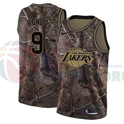 Maillot NBA Los Angeles Lakers NO.9 Rajon Rondo Camo NBA Swingman Collection Realtree 2018
