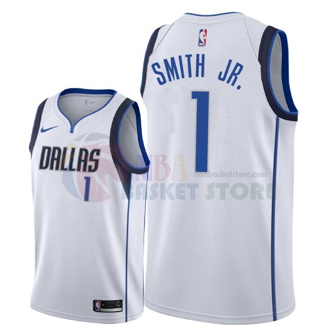 Maillot NBA Nike Dallas Mavericks NO.1 Dennis Smith Jr Blanc Association 2018