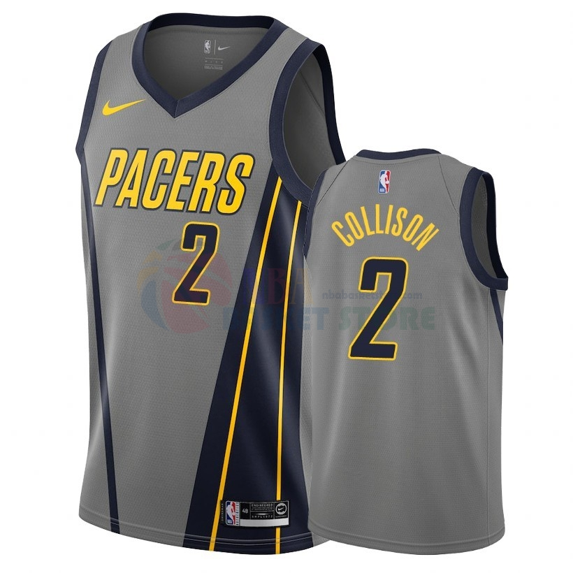 Maillot NBA Nike Indiana Pacers NO.2 Darren Collison Nike Gris Ville 2018-19